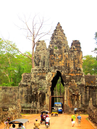 The gates of Angkor Thom. The people and tuk tuks look so small in comparison!