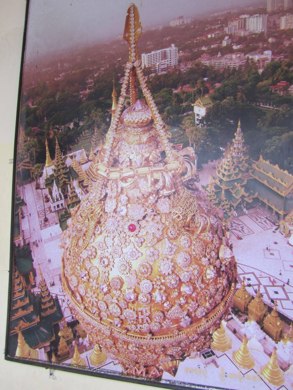 The top of the main stupa with rubies, emeralds and diamonds.