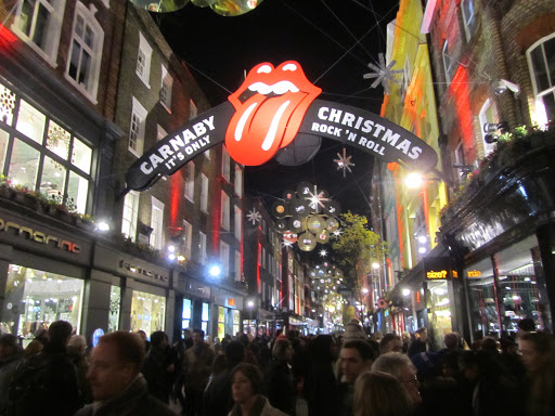 Crowded Carnaby street during the holiday season