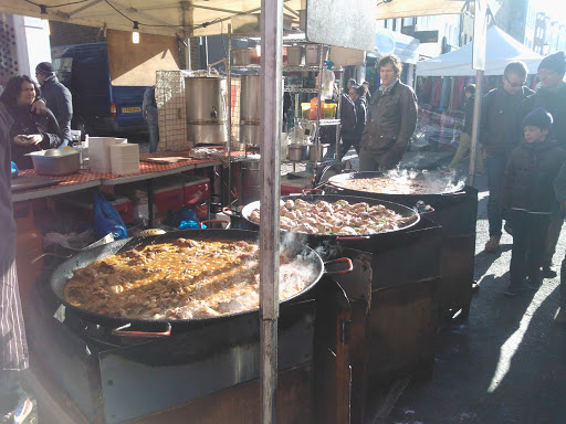 Fresh seafood paella at Portobello street market in Notting Hill