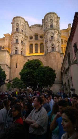 Crowds in front of the cathedral at Semana Santa