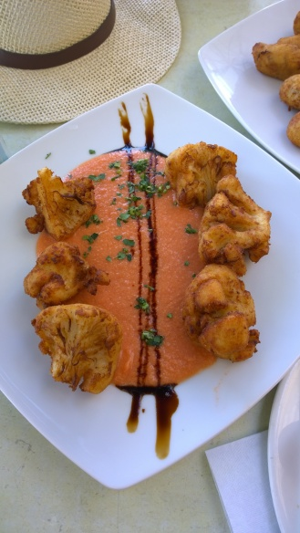 Fried cauliflower and gazpacho